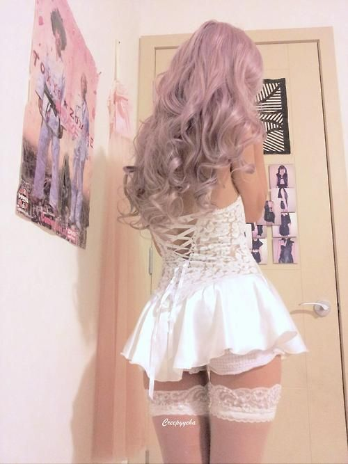 Back detail of my favorite nightie ♡  And my very first wig :X