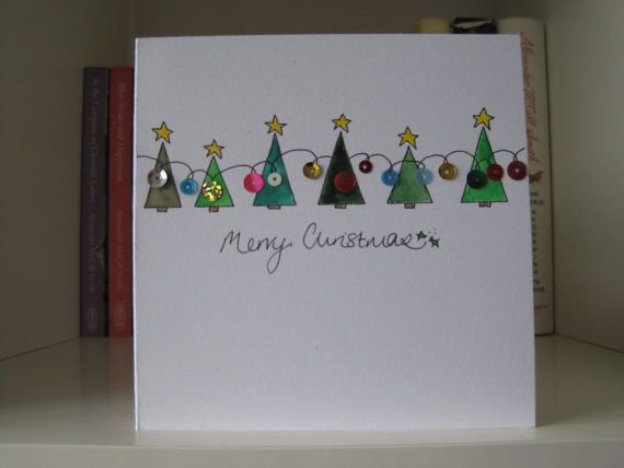 Handmade Christmas Card - drawn and painted by hand. Christmas Trees and Lights