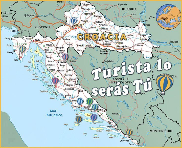 Mapa de turismo en Croacia