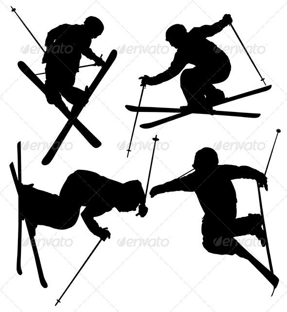 Freestyle Skier Silhouette  #GraphicRiver         Freestyle Skier Silhouette on…