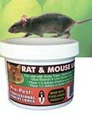Pro-Pest Professional Rat & Mouse Lure / Bait by Pro-Pest. $11.97. Long Lasting, Non-toxic. Made with food grade products. Contains no peanuts. 4 oz Jar. lure has the scent of nuts, nut oils, seeds and other ingredients attractive to rodents. Propest Rat and Mouse Lure is made with a blend of food grade nuts and oils that effectively attracts mice and rats to traps. Propest Rat and Mouse Lure can be used with glue boards, live animal traps, snap traps, multi-catch and...