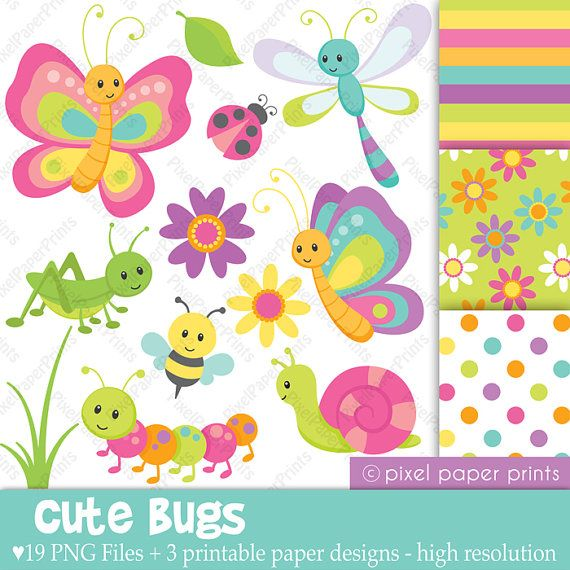 Cute bugs Clip Art and Digital Paper Set by pixelpaperprints, $5.00