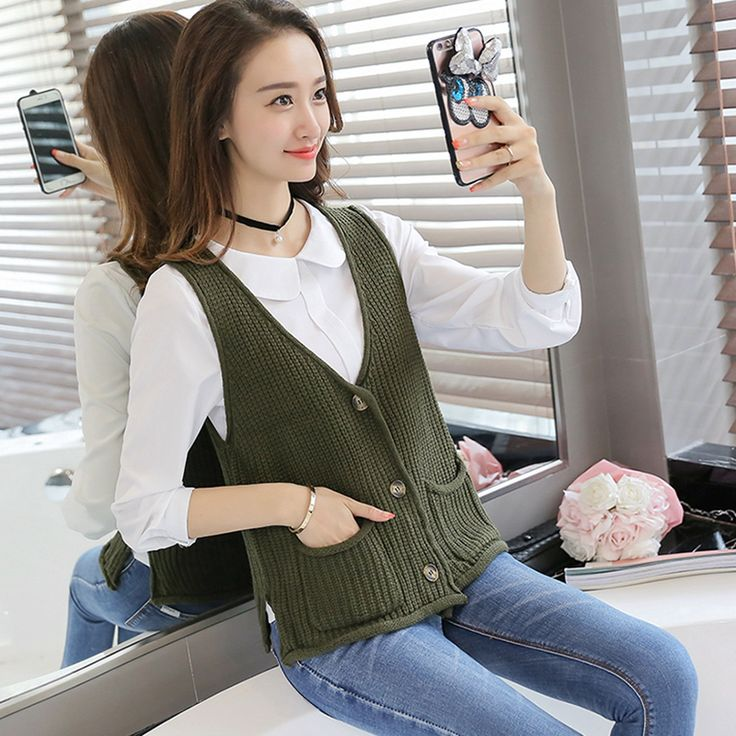 Women Cardigan vest  2016 Autumn Winter Fashion Knitted V-Neck Sleeveless Women Sweaters casual Pockets short  Vest waistcoat