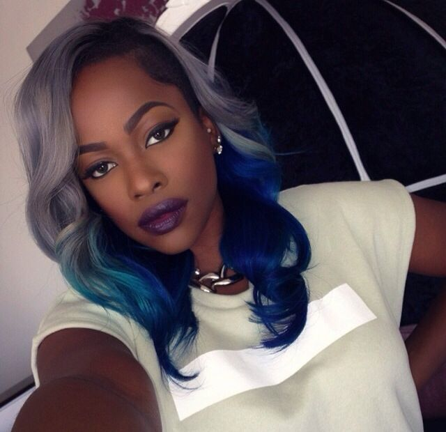 40 best grey weave hair images on pinterest braids texture absolutely loving these grey to electric blue tresses pmusecretfo Images