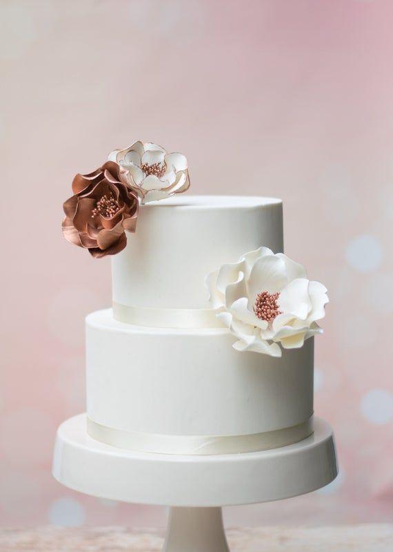 Rose Gold Open Rose Sugar Flower Arrangement Set Of 3 Etsy Sugar Flowers Wedding Cake Toppers Tropical Wedding Cake