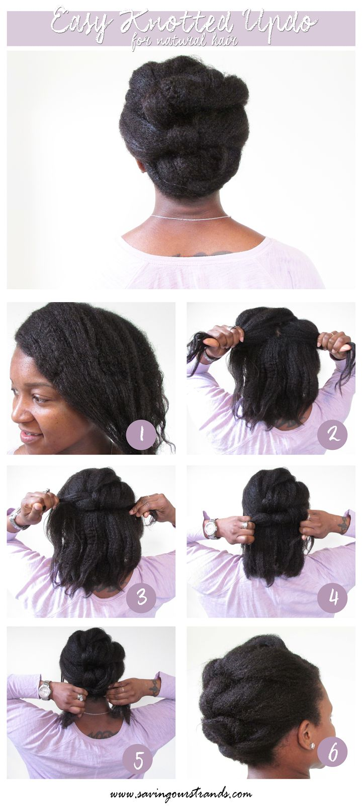 Natural hairstyles for short hair black women hair and tattoos - Savingourstrands Celebrating Our Natural Kinks Curls Coils Tutorial Easy Knotted Updo