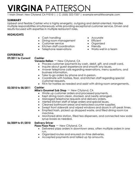 chief cashier resume