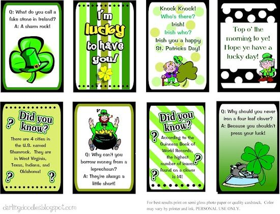 st patty day treat free printables - Google Search