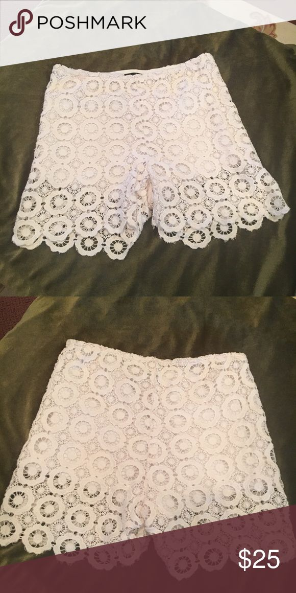 Gorgeous White Lace Shorts ....Rock On🌺 White Lace Shorts  Reposh unfortunately they don't fit me...These Lace shorts can be dressed up or down. I would wear these shorts with a pair of booties, a tee and a great Moto jacket . Shorts are 100% Cotton and lining is 100% polyester Excellent Condition Aqua Shorts