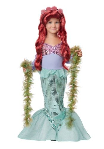 Let your girl become a beauty of the sea in this girls toddler mermaid costume! This kids mermaid costume is an excellent and cheap Ariel costume from the Little Mermaid.