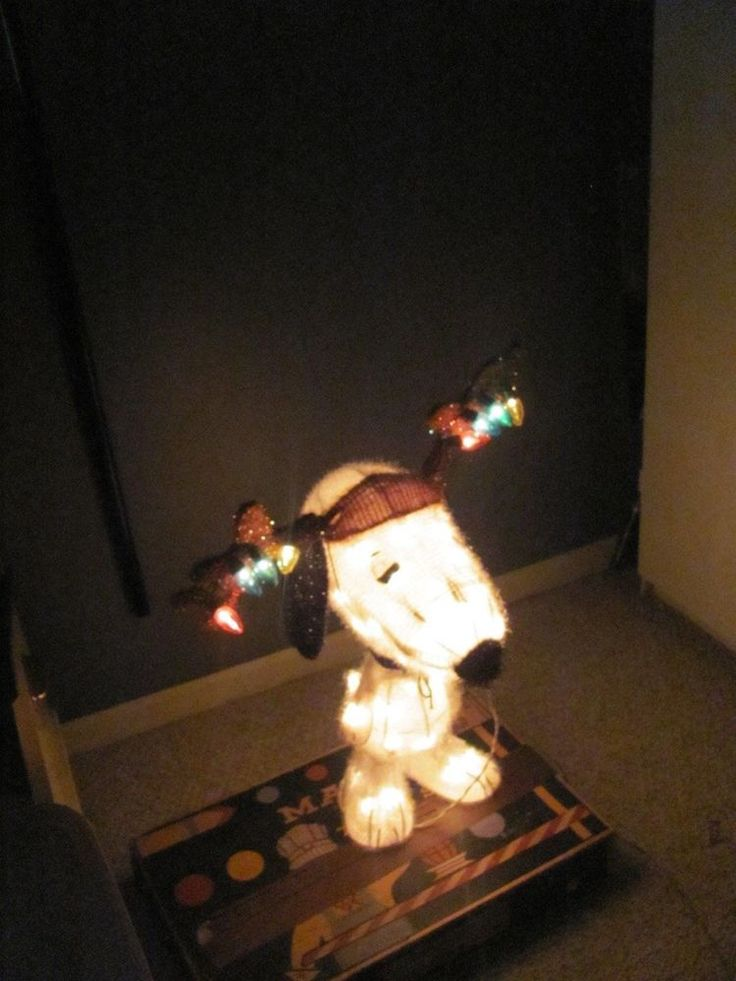 """24"""" 3D PEANUTS LIGHTED TINSEL SNOOPY DOG ANTLERS OUTDOOR CHRISTMAS DECORATION #Decorations"""
