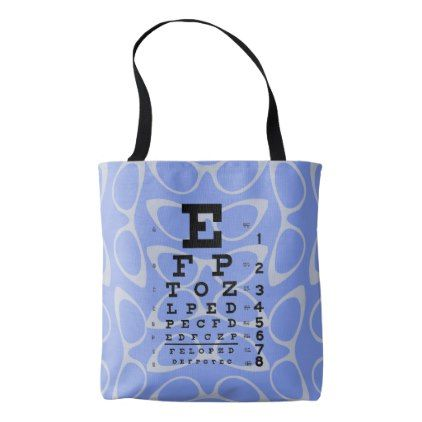 Ophthalmology Eye Chart Retro Cat Eyes Blue Tote Bag - diy cyo customize create your own #personalize