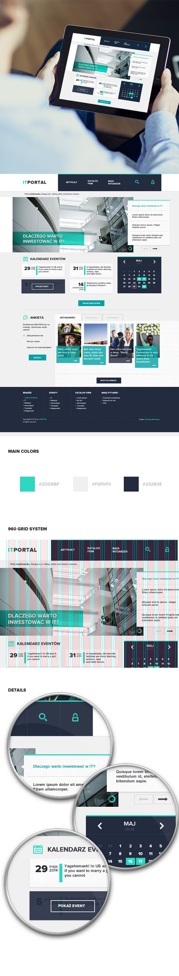 Cool overlapping panel design #web #layout - IT Portal by Tomasz Gawłowski, via Behance