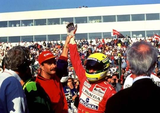 Ayrton Senna with Nigel Mansell