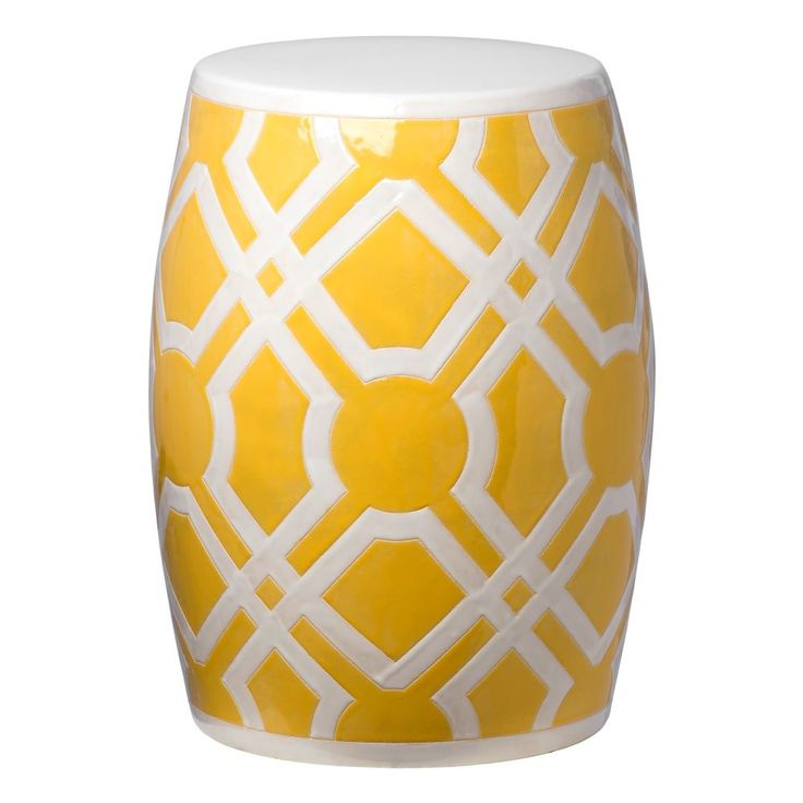 Good Yellow Labyrinth Ceramic Garden Stool