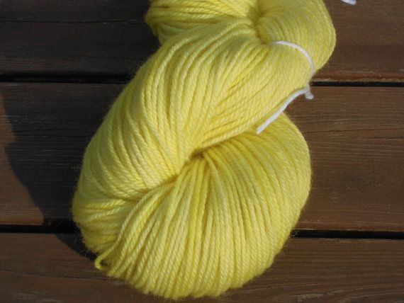 Luxury Handdyed Corriedale Wool DK weight Yarn, 3-ply, Lemon