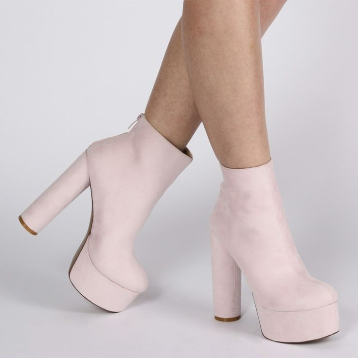 Sky Chunky Platform Boots in Pink Faux Suede