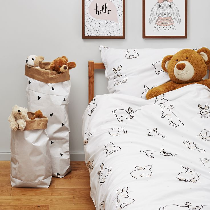 Kids bedroom with rabbit bed linen -White pocket