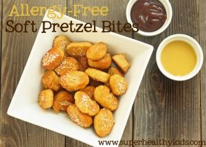 Soft Pretzel Bites - gluten, soy, dairy, nut, egg, and corn free! Really easy you will want to make these!