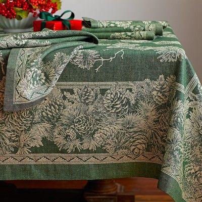 Christmas Green Tablecloth Loris Decoration