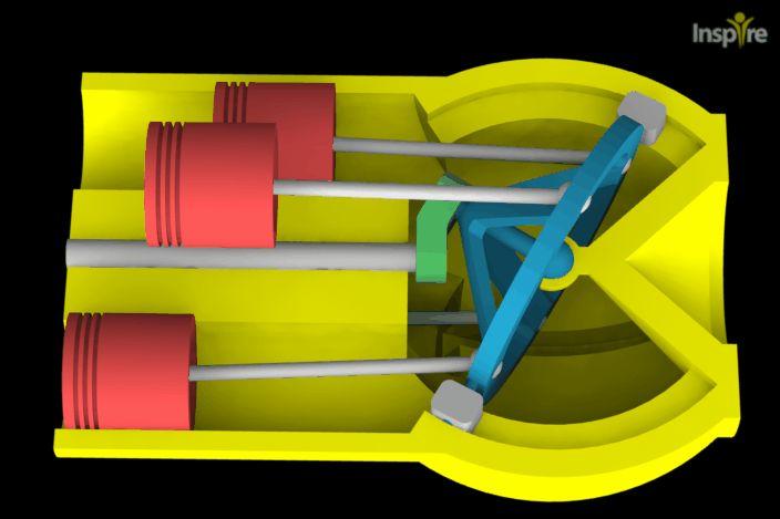 Wobbling Disk Mechanism 4 Cylinders - STEP / IGES, SOLIDWORKS - 3D CAD model…