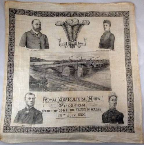 Royal-Agricultural-Show-Preston-1885-Orig-Cloth-Poster-Prince-of-Wales-Very-Rare