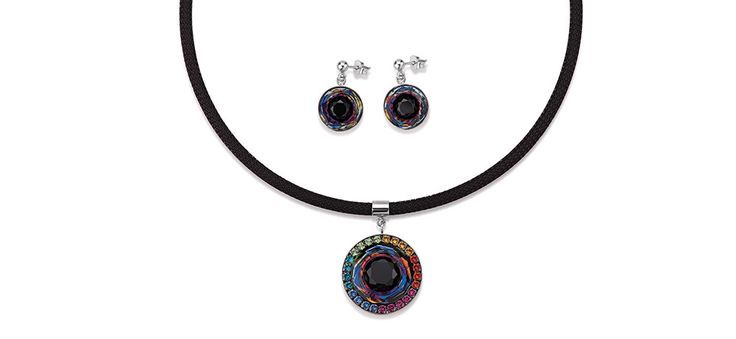 Swarovski hand worked glass pendant iridescent multicolour 4835_1315 – coeur de lion jewellery