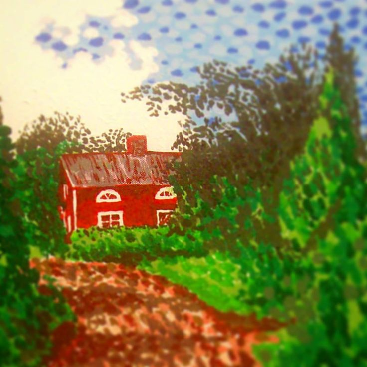 ..clouds and rain today in Finland, so posting a sunny painting of a red house to brighten up my Instagram! It's called 'The Red House in Finland'.  #art #instaart #artist #artistsofinstagram #finland #hoganfinland #canvas #instalike #instalikes #konst #taide #peintre #konstnär #artcollection #artcollectors #gallery #instaartist #finearts #fineart #artist_sharing #artcollective #artofinstagram #artistlife #artlife #worldofartists #supportart #painter #paintings #painting #instaart…