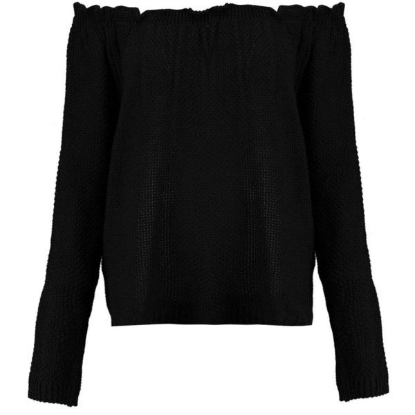Boohoo Ellie Off The Shoulder Knitted Jumper (¥1,590) ❤ liked on Polyvore featuring tops, sweaters, off-shoulder sweaters, knit wrap sweater, off the shoulder knit sweater, off the shoulder sweater and party jumpers