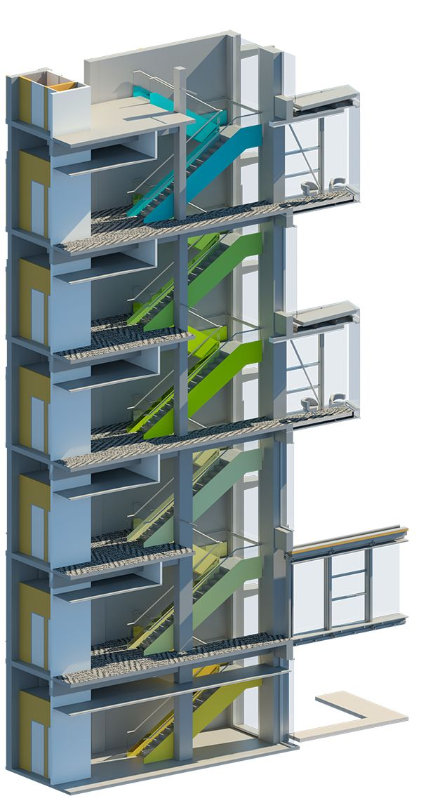 Render of the design for Hamilton building at Plant and Food Research. Colourful staircase and breakout spaces.