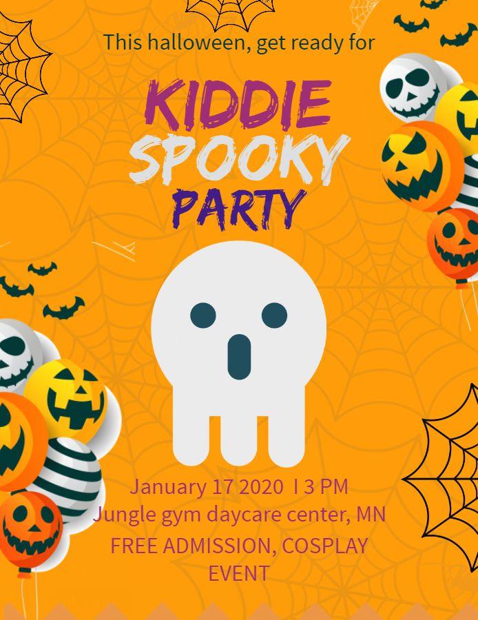 Cute Halloween Kid S Party Invitation Flyer Poster Template Kids Halloween Party Invitations Party Invitations Kids Halloween Kids