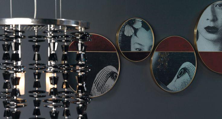 HALF MOON Mirrors by BORZALINO - Frame satin brass, detail velvet - #mirrors #coffee tables #furniture #sofa #chair #armchair #andrea andretta design
