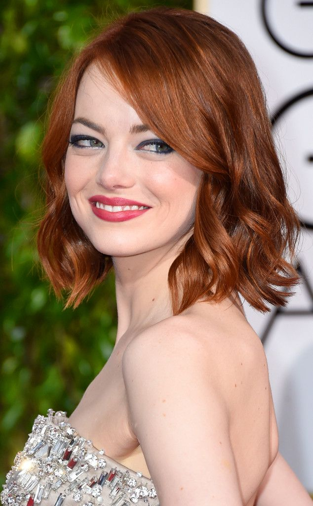 Emma Stone from Get the Look: 2015 Golden Globes Hair & Makeup Makeup artist Rachel Goodwin highlighted Stone's pretty peepers by swiping Chanel Stylo Yeux Waterproof Eyeliner in Black Shimmer along the top lids and Quadra Eyeshadow in Tissé Riviera along the bottom waterline. Her lipstick was Revlon Ultra HD Lipstick in HD Iris.To created Emma's textured bob, hairstylist Mara Roszak applied L'Oréal Paris EverStyle Texture Series Tousle Crème to damp hair and the rough dried it while ...