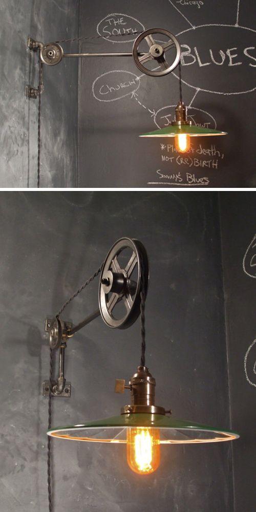 Estilo industrial vintage   Lámpara de polea • Pulley lamp, by DWVintage in etsy