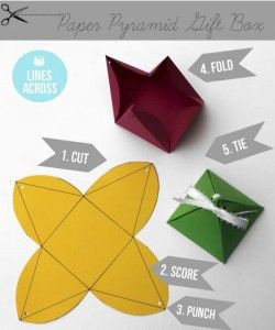 DIY Gift Wrapping Ideas - How To Wrap A Present - Tutorials, Cool Ideas and Instructions | Cute Gift Wrap Ideas for Christmas, Birthdays and Holidays | Tips for Bows and Creative Wrapping Papers |  Origami Paper Pyramid Gift Boxes |  http://diyjoy.com/how-to-wrap-a-gift-wrapping-ideas