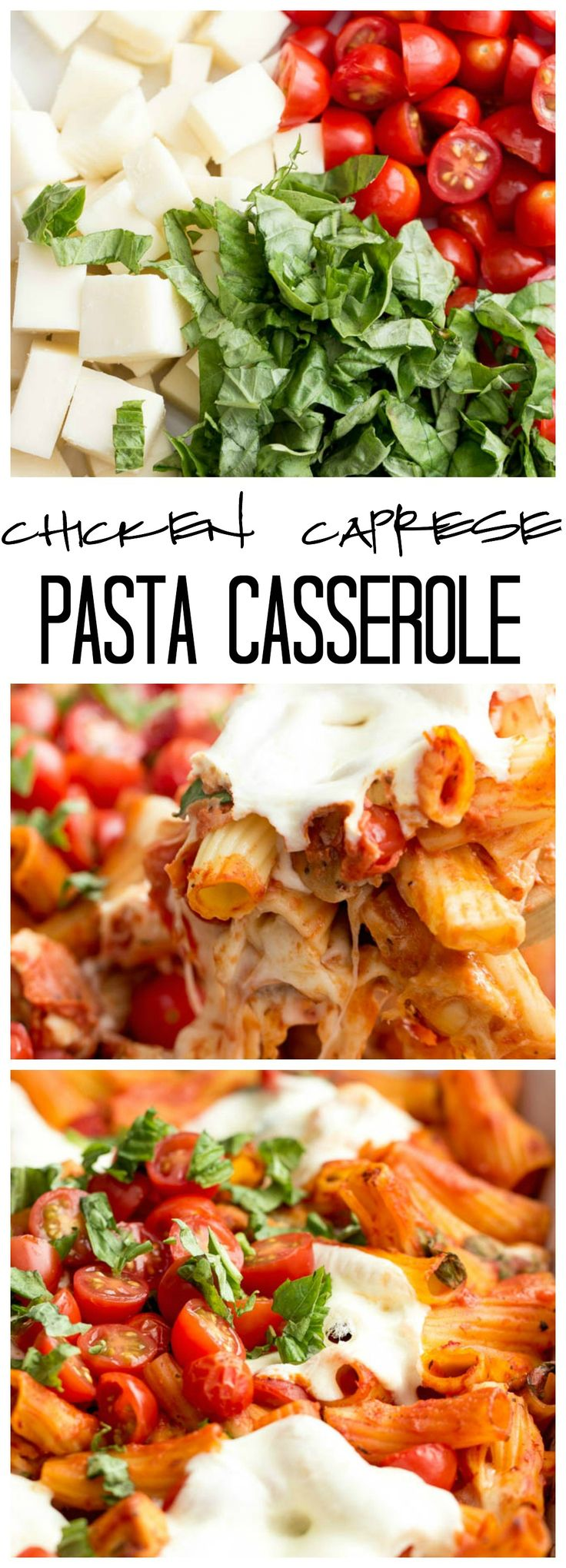 Chicken Caprese Pasta Casserole is combined with all of the amazing flavors of Caprese and is packed with gooey gooey cheese! This will be a FAVORITE!