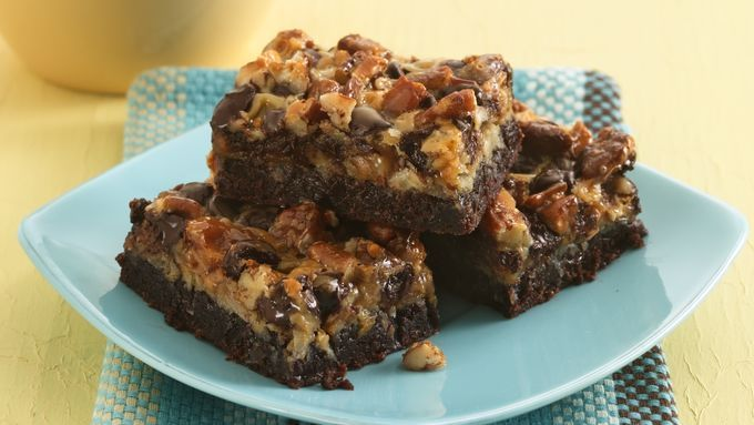 Layers of decadence over easy-mix brownie batter create this ultimate brownie bar.