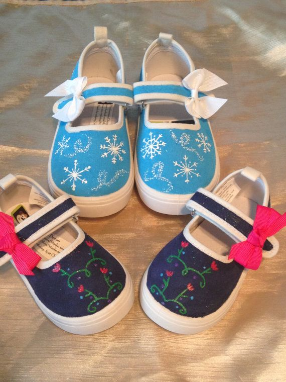 Frozen Inspired Hand Painted Shoes Disney's by MonkeymouDesigns