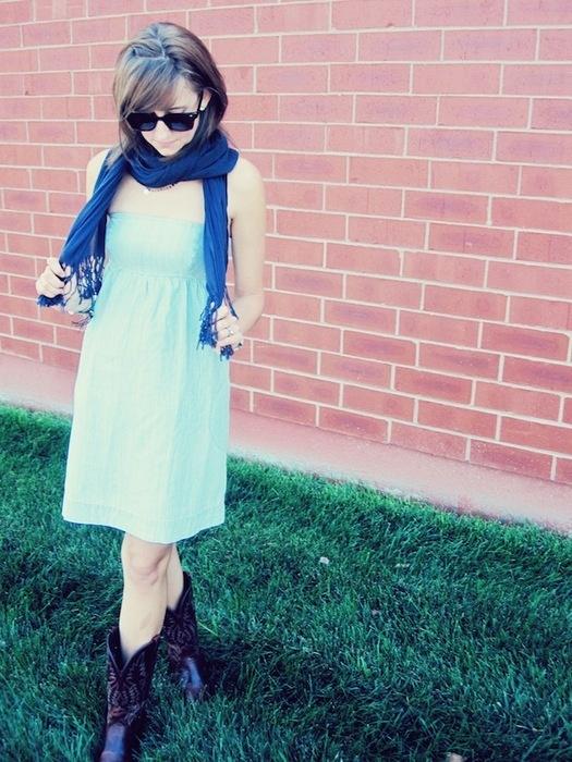 cowboy boots + dress
