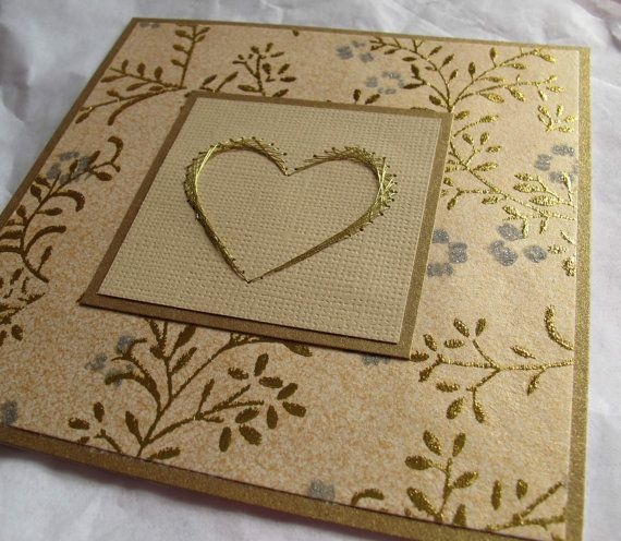 Gold wedding card with gold embroidered heart by SandrasCardShop, $6.50: Cards Gold, Embossing Cards, Cards Hands, Valentine Cards, Valentine'S Cards, Gold Wedding, Valentines Cards, Cards Heart, Embossed Cards