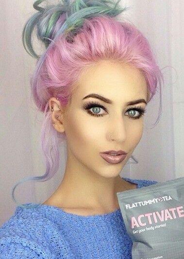 Messy pink rainbow dyed pastel hair updo @amythemermaidx More