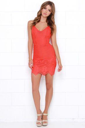 Cute Red Orange Dress - Lace Dress - Sleeveless Dress - $68.00