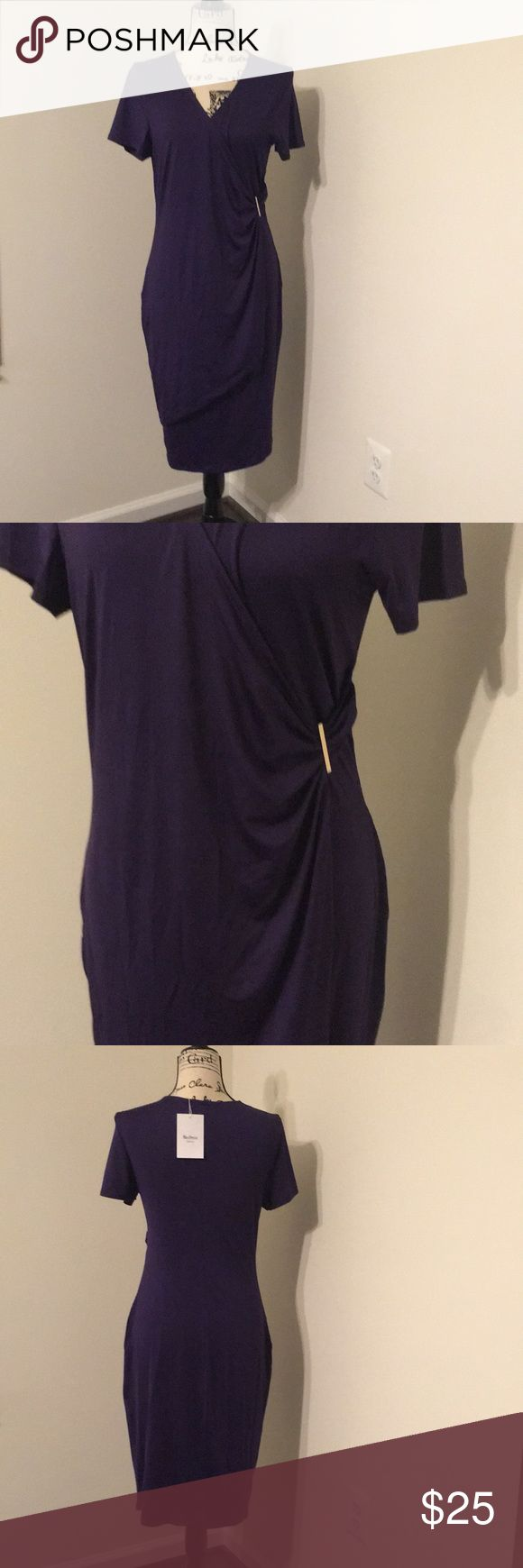 Plus Size Pullover Overlap Dress The pic is one shade darker than actual item  XL Fit US Size:14,Length:38.98 / Sleeve Length:7.28.(In inches) / Sleeve Length:20.08.(In inches) .(In inches) Bust 41.34 / Hips 44.49 / Waist 33.46 / Shoulder Width 15.94  Style: Brief Material: Polyester,Spandex Silhouette: Sheath Dresses Length: Knee-Length Neckline: V-Neck Sleeve Length: Short Sleeves Pattern Type: Solid Color With Belt: No Season: Summer Dresses Midi