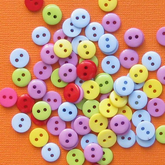 100 Small Buttons Bright and Colorful  Ideal by BohemianFindings, $3.75