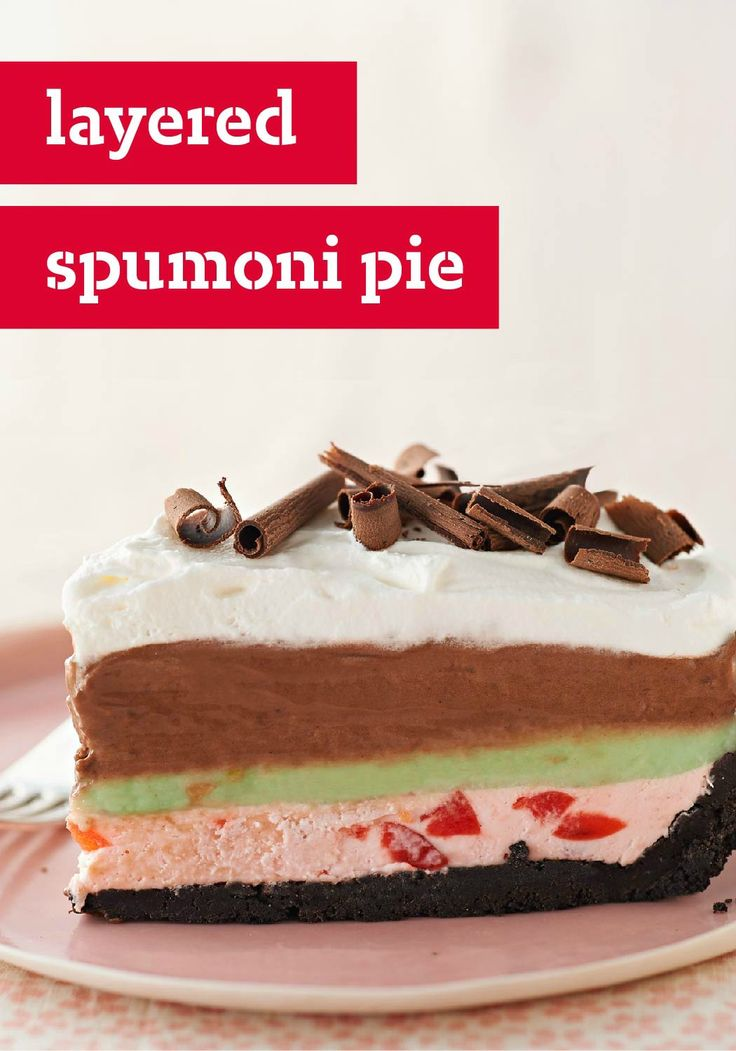Layered Spumoni Pie – You won't need Italian ice cream to make this luscious layered pie. See how to make this attention-grabber using pistachio flavor pudding and cherry juice!