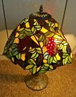 Art Nouveau Tiffany Style Leaded Glass Grapevine Design Table Lamp 2-Bulb
