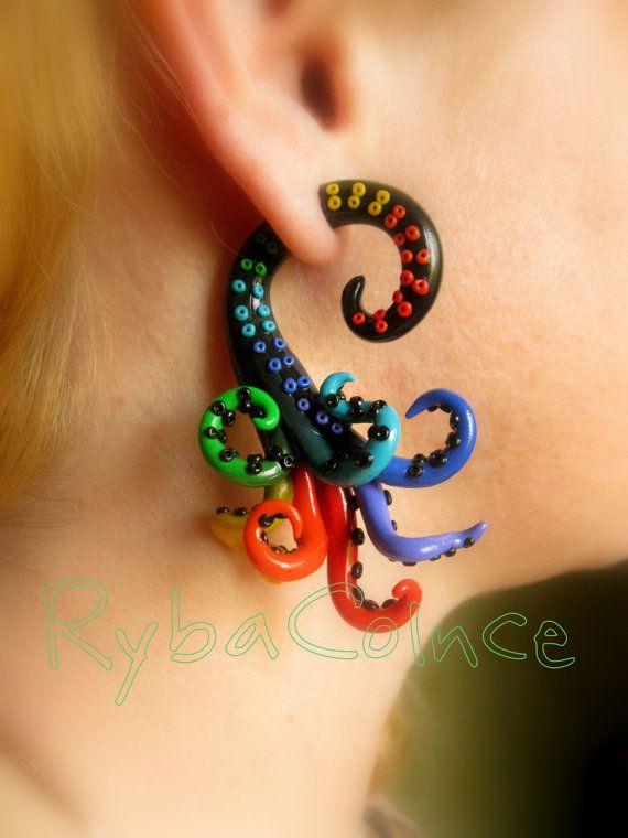 Fake ear tentacle gauge - Faux gauge/Gauge earrings/Tentacle plug/tentacle earrings /spiral gauge/ fake piercing on Etsy, $25.86