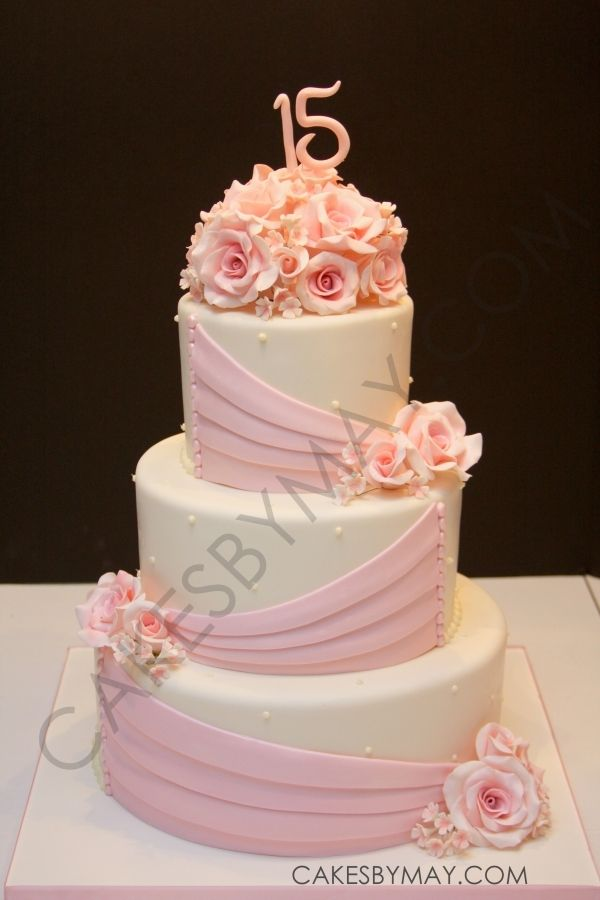 Pink Roses and Draping Quinceanera Cake