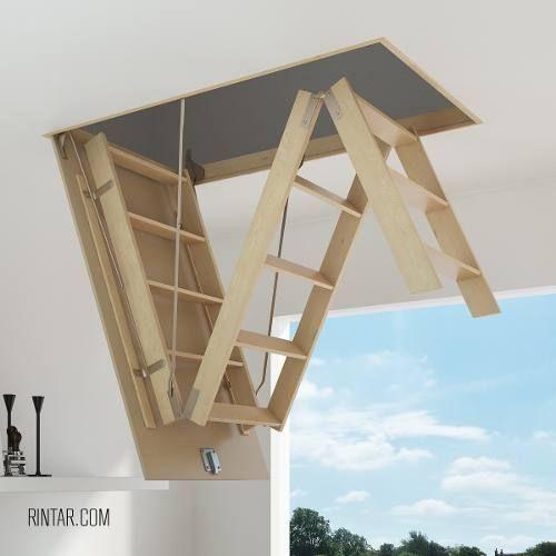 escaleras plegables de altillo en chapa de acero y madera