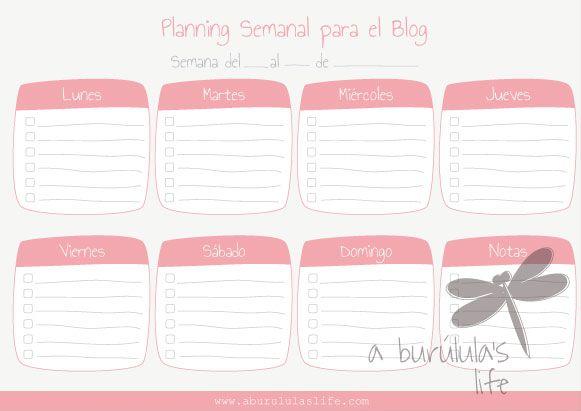 Planning semanal para el blog